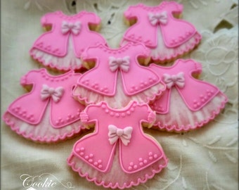 Baptism First Communion Confirmation  Flower Girl Baby Dress Decorated Sugar Cookie