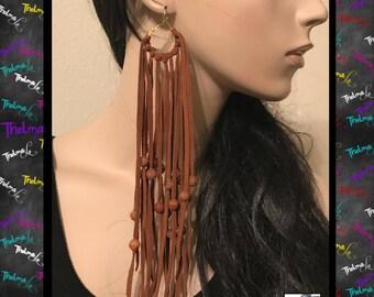 Long fringe earrings,long bead earrings,suede fringe earring,suede earrings,handmade earrings,statement earrings