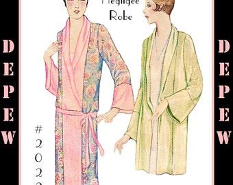 Vintage Sewing Pattern Reproduction 1920's Kimono Negligee Robe S, M, L Sizes #2022- INSTANT DOWNLOAD