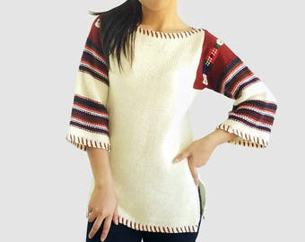 80s Vintage Bell Sleeve Sweater Cream Color