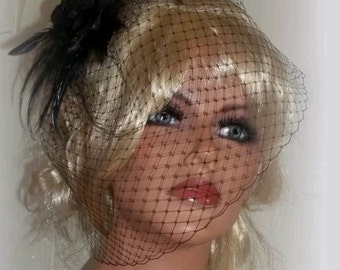 Black French Net Birdcage  Veil , Satin Rose Fascinator, Feather head piece, black Gothic headpiece, black satin rose,  black feathers