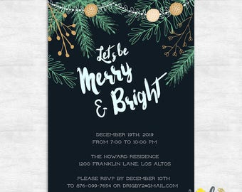 holiday party invitations / merry and bright invite / christmas party invite / Printable Invites or Printed Invitations