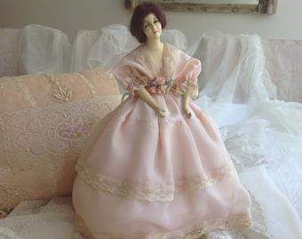Beautiful antique boudoir half doll pink ribbonwork bed headboard lamp shade