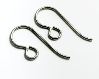Grey Niobium Loop Earwires, Set of 10 Hypoallergenic Earrings (5 pairs) Made in USA, #TC102