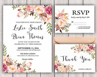 Floral Wedding Invitation Printable Boho Chic Wedding Invitation Suite Rustic Bohemian Wedding Invite Wedding Invitational Printable, B100