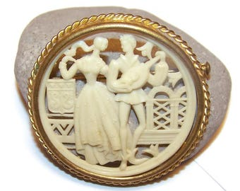 Vintage Celluloid Brooch Pin Courting Couple French Ivory Trombone Closure, Victorian Revival Antique Celluloid Brass Pin
