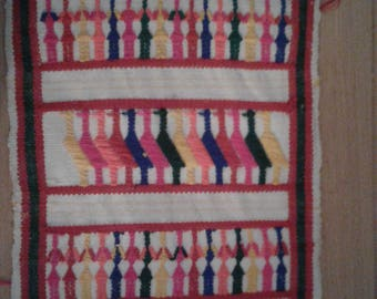 Vtg 70s Woven Runner or Wallhanging from Mexico