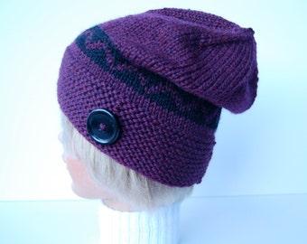 Knit plum hat, purple hat with button, wool hat knit,  hand knit purple beanie, chevron striped hat, purple knit hat, button brim hat