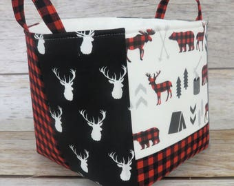 Fabric Organizer Bin Toy Storage Container Basket - Woodland Animals Deer Moose Bear Red Black Buffalo Checks Plaid - 8 in x 8 in x 8 in