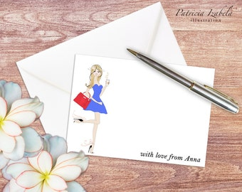 Printable NOTECARDS, Editable Notecards, pretty notecards, fashion notecards instant download notecards chic notecards girlie notecards NC01