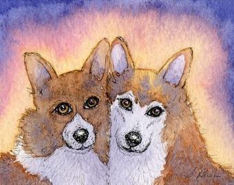 Welsh Corgi dog 8x10 art print - togetherness
