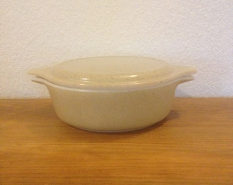 Vintage Pyrex Covered Casserole with Lid #471~1 PT Homestead Tan Speckled