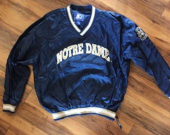 Vintage Notre Dame pullover by Starter men xl blue