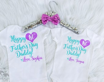 Baby Girl's Father's Day Onesie Outfit, Bodysuit, Toddler Outfit, Daddy's Day, 1st Fathers Day Shirt, Father's Day Gift, Personalized