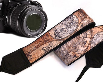 Map Camera Strap. Vintage Camera Strap.Photographer Gift. Brown Camera Strap. Accessories