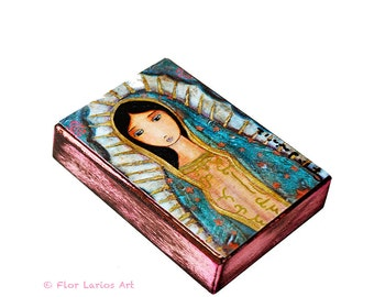 Virgen de Guadalupe - Giclee print mounted on Wood (6 x 8 inches) Folk Art  by FLOR LARIOS