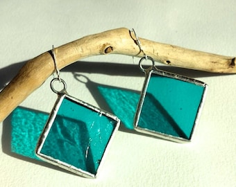 Handcrafted Turquoise Stained Glass Earrings