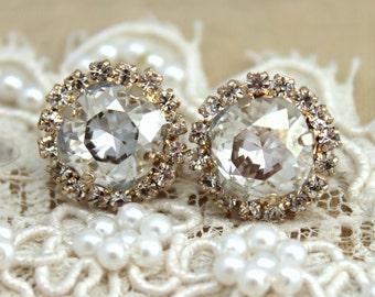 Bridal Earrings, Crystal Bridal Earrings, Bridesmaids Earrings, Halo Earrings, Swarovski Stud Earrings, White Crystal Earrings, Bridal Studs