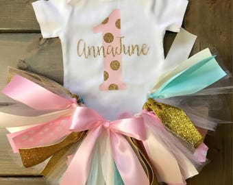 Baby Girl's First Birthday Outfit, Cake Smash Outfit