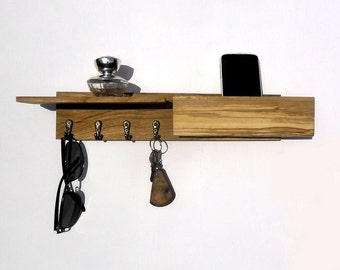 wooden key rack with mailbox