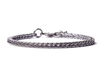 Silver bracelet for men - Mens Jewelry - Modern silver adjustable geometric bracelet - Gifts for him - Layering Bracelet - Stacking bracelet