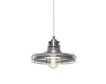 Bright Satin Nickel and Smokey Glass Single Light Industrial Pendant