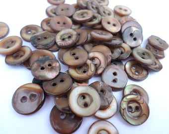 50 Brown Pearl Sew Thru Buttons Vintage Brown Pearl Butttons for Sewing Crafts Scrapbooking Cardmaking Jewelry