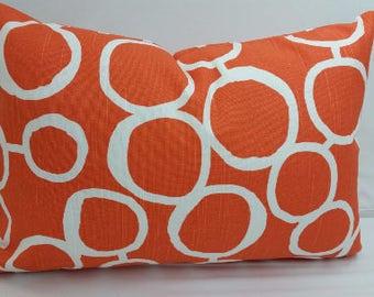 "Freehand circles toss pillow, 20 x 12"" lumbar, orange and white, RTS"