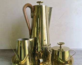 Brass Coffee Service by Tommi Parzinger for Dorlyn Silversmiths, Mid Century Modern Serve Ware,