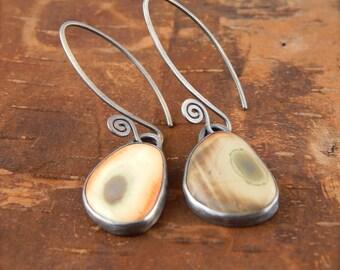 Stone earrings, simple imperial jasper earrings, bezel set stone, sterling silver, handmade fiddlehead earwires.