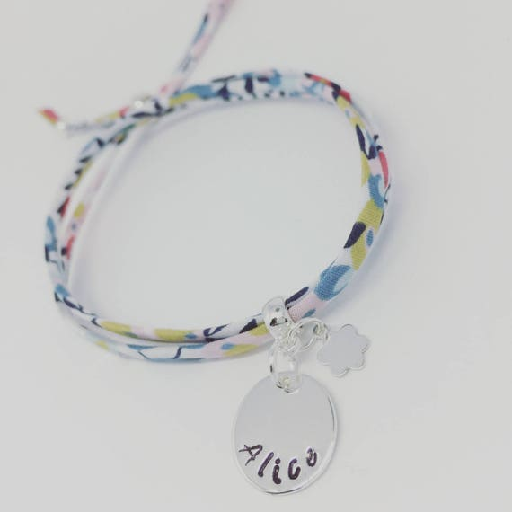 Liberty child - My 1st GriGri Liberty with custom engraving and Silver Flower bracelet. Baby bracelet