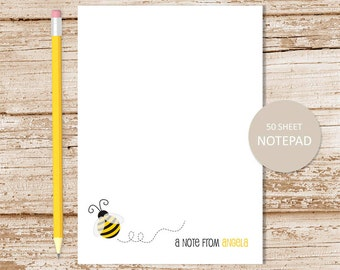 bee personalized notepad . bee note pad . bumble bee notepad . teacher stationery . personalized stationary . teacher notepad gift