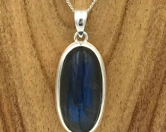Oval Labradorite Pendant - Sterling Silver