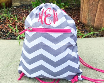 Drawstring backpack, Monogrammed Cinch Bag, Monogram Backpack, Gym backpack, Lightweight travel bag, Monogram Drawstring Bag, Gray Backpack
