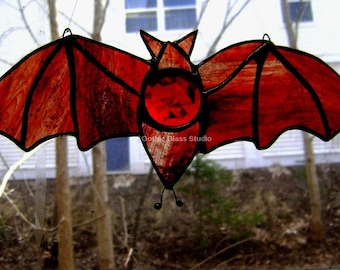 Bats Stained Glass Blood Red Salem Halloween Gothic Vampire Count Dracula Pagan Wiccan Vesper New Orleans OOAK Original Design©