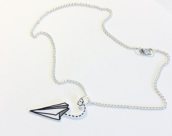 Come Fly With Me paper plane necklace