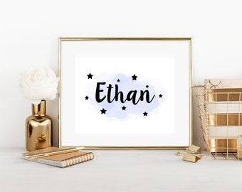 Personalised Name Print, Childs Room, Decor, Printable Art, Birthday Gift