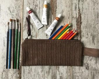 Leather Pencil Pouch, Pen Case, Zipper Pouch, Pencil Case, Makeup Bag, Utility Bag, Travel Case,  Italian Distressed Woven Leather Effect