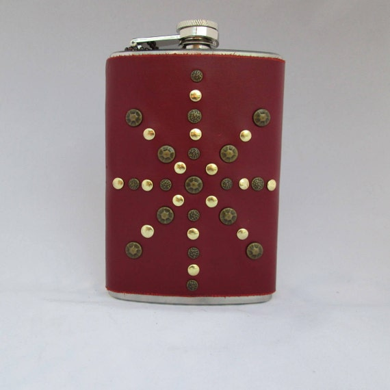 Gold Studded Red Leather Flask
