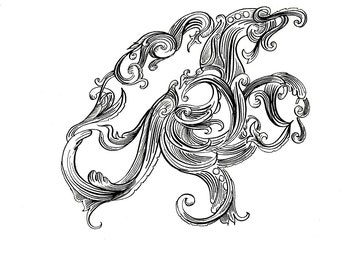 """Octopus Drawing - The Golden Age of Octopodes - Original 7""""x7"""" Black and White Linework Drawing - Free Shipping"""