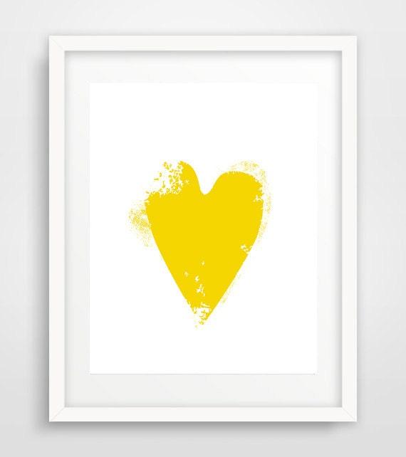 Nursery wall decor yellow heart poster art prints love