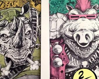 Bebop, Rocksteady, Art, Print, Poster, Teenage Mutant Ninja Turtles, Retro, Cartoon, 80s, TMNT