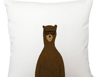 Cushions/ cushion cover/ scatter cushions/ throw cushions/ white cushion/ Reginald the bear cushion cover