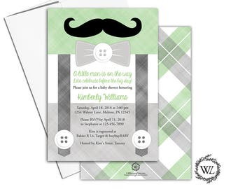 Little Man Baby Shower Invitation for Boys, Printed or Printable, Gray and Green Baby Shower Invites - WLP00771
