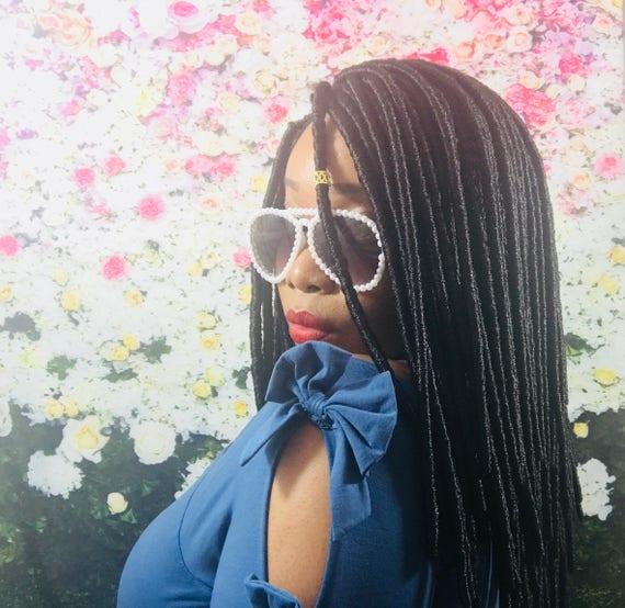 "Essence Wigs ""Loctastic"" Dreadlocks Lace Wig w Parting Black Comes w/ Gold Crystal Beads Faux Loc Locs Crochet"