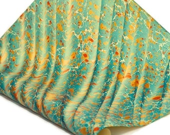 Hand-Marbled Paper Imported From Italy - Stone Wave Pattern - Blue/Orange