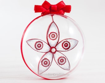 red christmas snowflake, christmas ornament, holiday decoration, clear ball, christmas ball, paper ornament, xmas decor, christmas tree