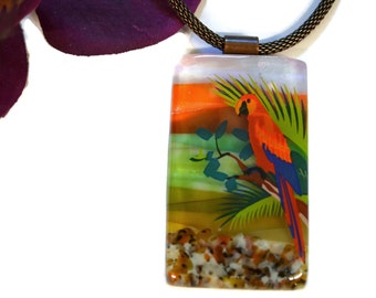 Fused Glass Parrot Necklace, Ocean Necklace, Tropical Jewelry, Dichroic Glass, Copper Chain, One of a Kind