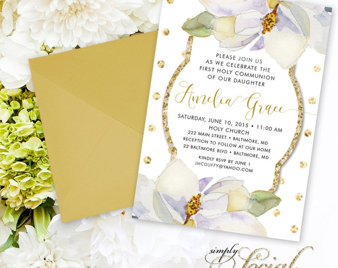 Magnolia First Holy Communion Invitation - White Flowers and Gold Glitter Polka Dots Printable
