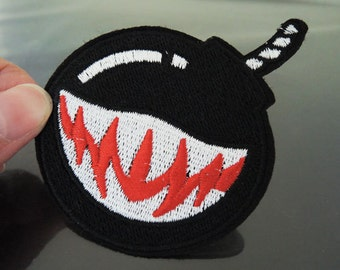 Black Bomb Patches - Iron on Patches or Sewing on Patch Black Patches Embroidered Patch Round Bombs Embellishment